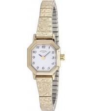 Rotary LB00764-29 Senhoras relógios de ouro banhado relógio pulseira expansível