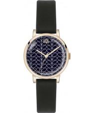 Orla Kiely OK2070 Ladies patricia haste de impressão de cetim preto relógio com pulseira de couro