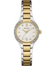 Bulova 98W221 Ladies diamante dois tons pulseira de aço relógio