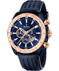 Festina F16897-1 prestígio dos homens de couro azul relógio cronógrafo