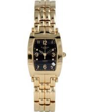 Krug-Baumen 1965DMG Tuxedo ouro pulseira de ouro mostrador preto 4 diamantes