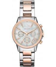Armani Exchange AX4331 Senhoras prata e vestido rosa relógio cronógrafo de ouro