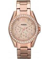 Fossil ES2811 Ladies Riley subiu cronógrafo relógio de aço ouro
