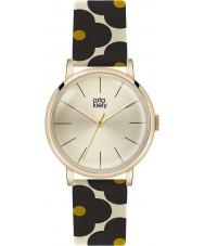 Orla Kiely OK2074 Senhoras patricia florido preto relógio com pulseira de couro