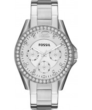 Fossil ES3202 Ladies riley relógio cronógrafo de aço de prata