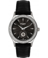 Rotary LS02908-04 pedra Ladies definir relógio preto