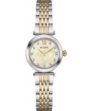 Bulova 98S154 Ladies diamante dois tons pulseira de aço relógio
