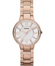 Fossil ES3284 Ladies virginia subiu relógio de aço ouro