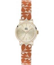 Orla Kiely OK2078 Ladies patricia bolota impressão laranja-creme de relógio pulseira de couro