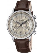 Festina F16893-7 Mens retro cronógrafo relógio de couro marrom
