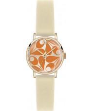 Orla Kiely OK2080 Ladies patricia creme de laranja relógio com pulseira de couro