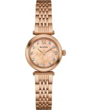 Bulova 97S116 Ladies diamante rosa banhado a ouro pulseira relógio