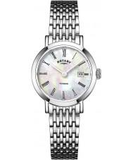 Rotary LB05300-07 Senhoras relógios relógio Windsor prata tom de aço