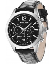 Police 12757JS-02 Mens Ohio couro preto relógio pulseira