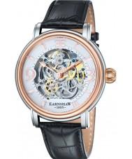Thomas Earnshaw ES-8011-06 Mens longcase croco preto relógio com pulseira de couro