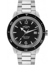 Rotary GB02694-04 Mens relógios oceano vingador prata preto relógio de aço