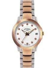 Rotary LB02837-41 Senhoras relógios de pedra ajustou dois relógio de aço tom