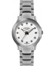Rotary LB02836-07 Senhoras relógios de pedra definir relógio de aço