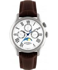 Rotary GS02838-01 relógios Mens moonphase marrom relógio de pulseira de couro