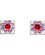Orla Kiely E5224 Senhoras prata esterlina brincos flor cubo com detalhes swarovski