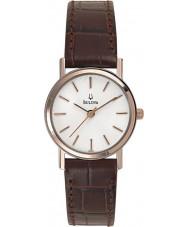 Bulova 98V31 Vestido de damas relógio branco marrom