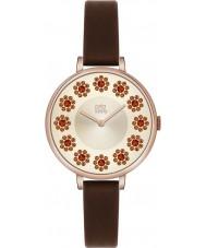 Orla Kiely OK2086 Ladies hera swarovski florido definir marrom escuro relógio de pulseira de couro