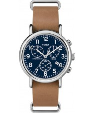 Timex TW2P62300 marrom relógio cinta cronógrafo Weekender