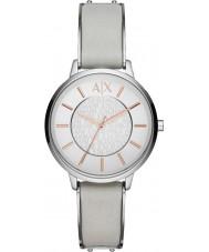 Armani Exchange AX5311 Ladies couro cinza relógio vestido de alça