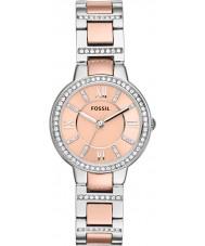 Fossil ES3405 Ladies virgínia ouro rosa e relógio de prata