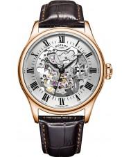 Rotary GS02942-01 relógios Mens rosa banhado a ouro relógio mecânico esqueleto marrom