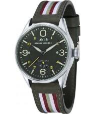 AVI-8 AV-4040-02 Hawker Harrier II pulseira de couro de dois tons do relógio de Mens com cinta de nylon verde extras