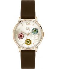 Orla Kiely OK2088 Ladies betty swarovski florido definir marrom escuro relógio de pulseira de couro