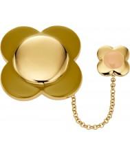 Orla Kiely D341 Ladies daisy de ouro cadeia de 18 quilates chapeado broche de flor