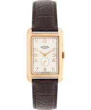 Rotary GS02699-01 relógios Mens portland aumentou o marrom relógio de pulseira de couro de ouro