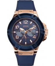 Guess W0247G3 Mens rigor azul silicone pulseira de relógio
