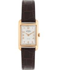 Rotary LS02699-01 Senhoras relógios portland do olhar do vintage de couro marrom pulseira de relógio