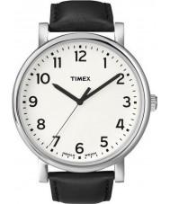 Timex T2N338 Mens relógio redondo clássico preto branco
