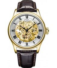Rotary GS02941-03 Mens relógios banhados a ouro relógio mecânico esqueleto marrom