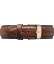 Daniel Wellington DW00200006 Mens clássico 40mm st mawes luz rosa de ouro de couro marrom pulseira de reposição