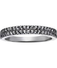FROST by NOA 145043-56 Ladies ródio anel com duas fileiras de CZ - tamanho p