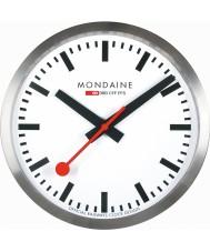 Mondaine A990-CLOCK-16SBB relógio de parede de metal prateado