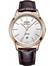 Rotary GS90164-02 Mens les originales tradição automática rosa banhado a ouro de couro marrom pulseira de relógio