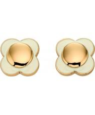 Orla Kiely E5160 Ladies dasiy brincos cadeia de 18 quilates de ouro de creme de flores
