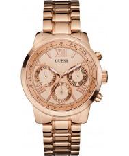Guess W0330L2 As senhoras do nascer do sol rosa banhado a ouro pulseira relógio
