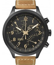 Timex T2N700 Mens preto tan fly-back Cronógrafo