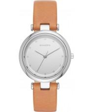 Skagen SKW2455 tanja luz das senhoras de couro marrom relógio de pulseira