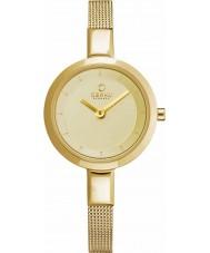Obaku V129LXGGMG Ladies ouro magro banhado malha pulseira relógio