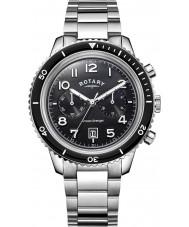 Rotary GB05021-04 relógio de aço preto Mens relógios oceano vingador crono