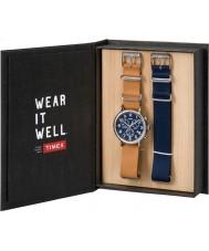 Timex TWG012800 Mens weekender couro tan e de reposição do cronógrafo nylon jogo do presente relógio azul
