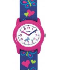 Timex T89001 Crianças borboletas corações tecido elástico relógio pulseira